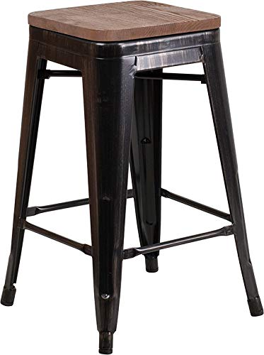 Price comparison product image Flash Furniture Backless Metal Counter Height Stool in Black-Antique Gold