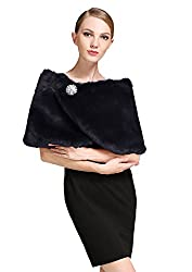 BEAUTELICATE Women's Faux Fur Shawl Stoles Wrap for Wedding/ Party with Free Brooch-S61 Brown