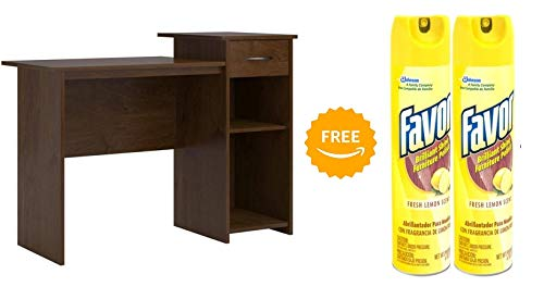 Mainstays Student Desk in Northfield Alder Finish with 2pcs of 9.7 Ounces Furniture Polish (Bundle Set)
