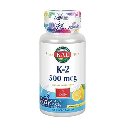 KAL Vitamin K-2 500 mcg ActivMelt | Natural Lemon Flavor | Healthy Bone Formation & Cardiovascular Function Support | Vegetarian | 100 Micro Tablets