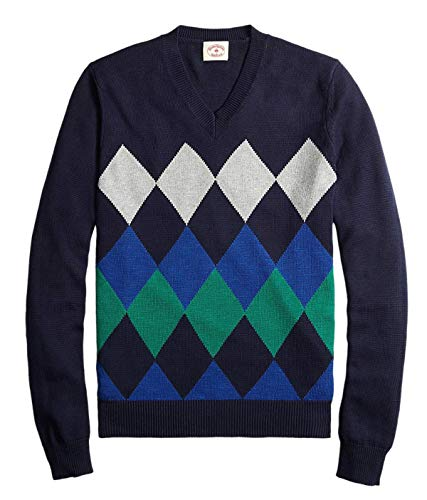 Brooks Brothers Men's Cotton Argyle V-Neck Sweater, Navy Blue (Small)