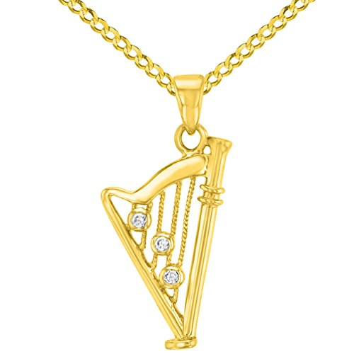 Solid 14K Yellow Gold CZ Harp Charm Musical Instrument Pendant with Cuban Chain Necklace, 20