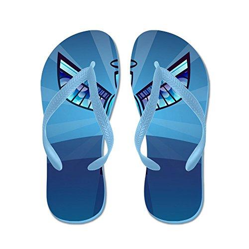 Verkligt Teague Mens Samtida Abstrakt Målat Glas Ängel Gummi Flip Flops Sandaler Caribbean Blue