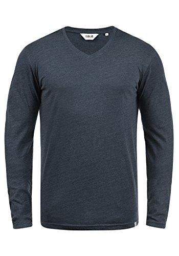8991 Larga De Camiseta Hombre Manga Básico Insignia solid Blue Para Melange tavqww