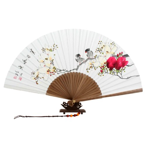 Hand Painted Folding Magnolia Flower Bird Painting Korean Mulberry Rice White Paper Bamboo Art Handheld Decorative Fan