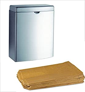 Bobrick Stainless Steel B-270 Surface-Mounted Sanitary Napkin Disposal (1EA) Bundle with (100PK) Hospital Specialty Wax Liners