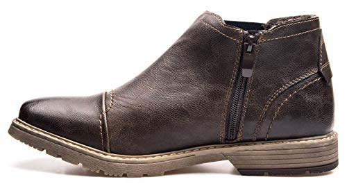 XPER Boots on Causal Size Men's Chelsea Brown Boots Boots Fur Dark Fashion 15 Winter Lining Slip 7 Brown Leather Retro Ankle Style qaYawzxp