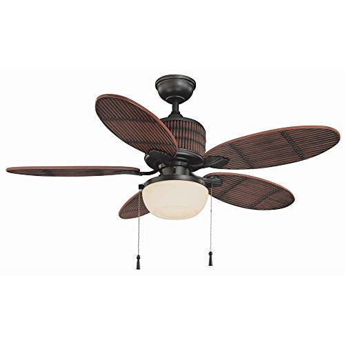 Breeze Accent - Home Decorators Collection Tahiti Breeze 52 in. LED Indoor/Outdoor Natural Iron Ceiling Fan with Mahogany Bamboo Accents