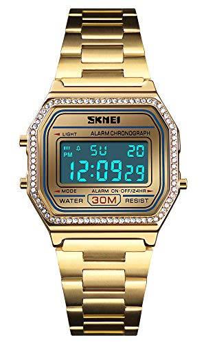 - Classic Unisex Women's Men's Digital Multifunction Sports Watch Stainless Steel Band Square Waterproof Electronic Led Watch (Crystals Gold)