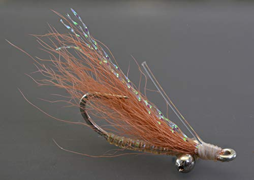 Bonefish Hook - Crazy Charlie Bonefish Fly Fishing Flies - Tan- Mustad Signature Duratin Fly Hooks - 6 Pack (Assortment)