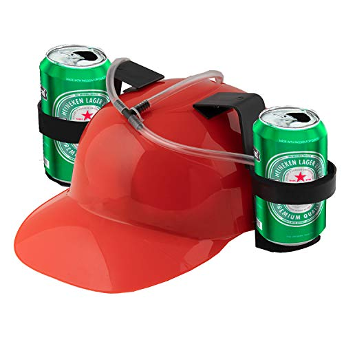 Beer Bong Hat for Beer, Cola, Soda Drinking Beer Bong Helmet, Party Hard Hat, Beer and Soda Guzzler Helmet, Fun Party Drinking Hat, Party Gags Cap, College Fraternity Party Favorites (RED)