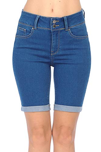 Wax Jean Women's Juniors Butt I Love You High Rise Push-Up 2 Button Bermuda Denim Shorts
