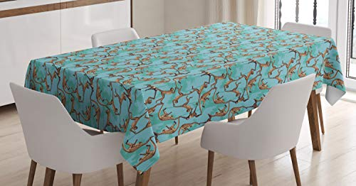 Ambesonne Monkey Tablecloth, Wild Jungle Animals Hanging Around on Trees, Dining Room Kitchen Rectangular Table Cover, 60 W X 84 L Inches, Pale Teal Pale Caramel Dark Brown and Pale Sky Blue ()