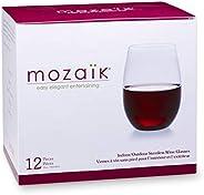 Mozaik Taças de vinho sem haste de plástico premium, 425 g, 12 unidades