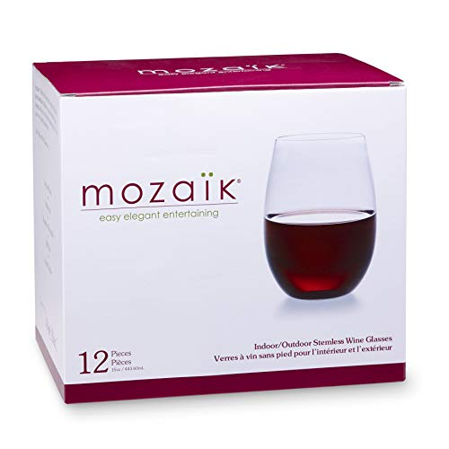 Mozaik Premium Plastic 15 oz. Stemless Wine Glasses, 12 -