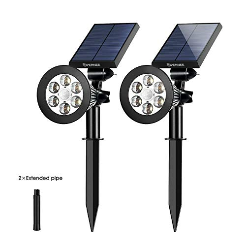 OPERNEE Solar Spotlights, Motion Sensor Solar Lights Outdoor 6 LED Security Lighting Landscape Light Auto On/Off for Patio Deck Garden Garage (With dim function)