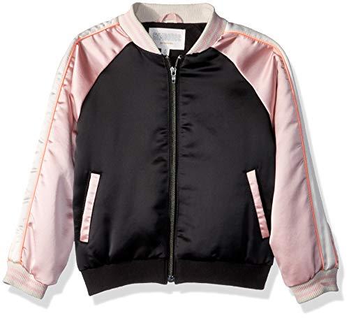 Gymboree Girls' Big' Bomber Jacket, Pink/Black Satin, S -