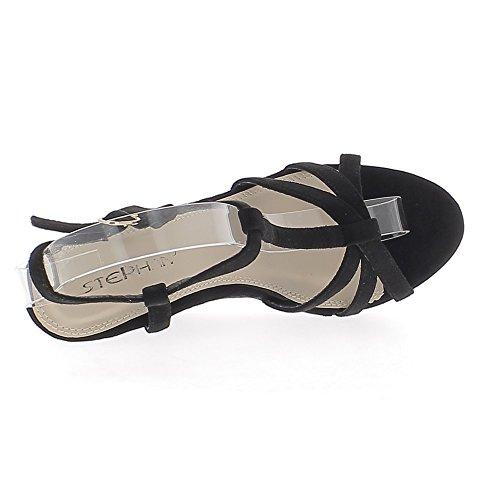 Sandales compensées noires aspect daim à talon de 11 cm avec fines brides et plateforme