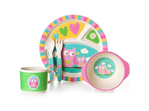 Zehaer Baby Placemat Bamboo Fiber Cartoon Owl Dish Children Plate Fork Spoon Cup Set for Kids Toddler Children (Place Bamboo Fork)