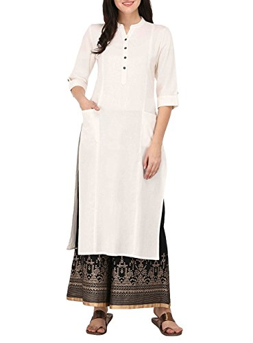 (Women's Pure Cotton Plain Tunic Top 3/4 Sleeves Roll-UP Button Neck With Pocket Long Kurti Kurta,Off White,Chest: Body-32-33,)