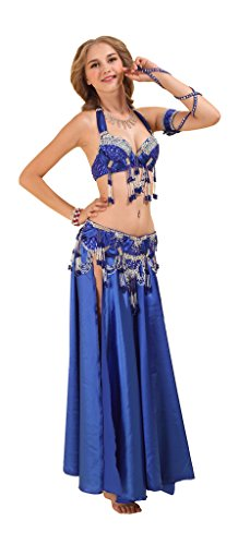 GUILTY BEAUTY Belly Dance Costume Bra Belt Skirt 3pcs Performance Outfit (Belly Dance Costumes Large Ladies)
