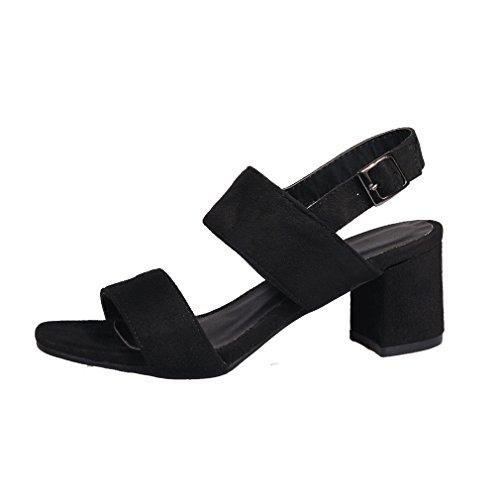 YE Damen Offen Wildleder High Heel Sandalen mit 6cm BlockAbsatz und Schnalle Legerer Komfort Schuhe Schwarz