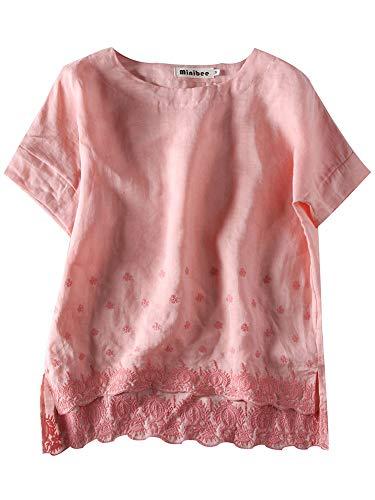 Minibee Women's Summer Linen Tunic Shirt High Low Hem Embroidery Blouse Top Pink