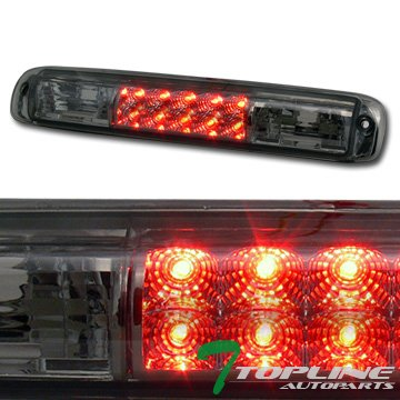 Topline Autopart Smoke Clear Lens Red LED Rear 3RD Third Brake Lamp Tail Light AW 99-06 Chevy Silverado / GMC Sierra 1500 2500 3500 HD Denali