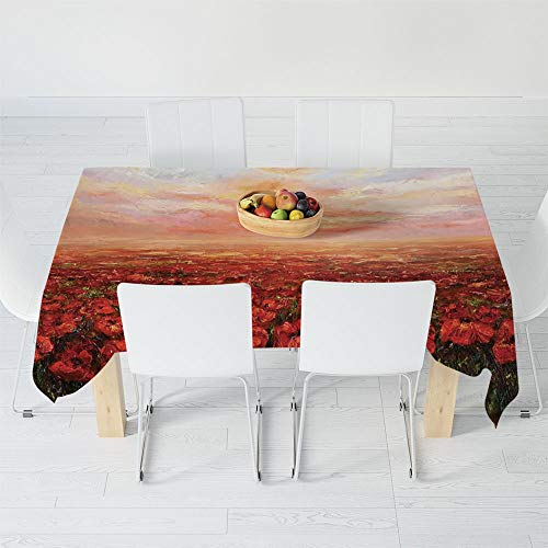 (Waterproof Tablecloth,Flower,for Dining-Table Tea Table Desk Secretaire,40.2 X 30.3 Inch,Wild Opium Poppy with Petals Field in)