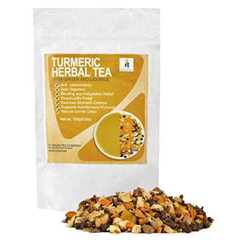 Zi Chun Teas - Turmeric Tea with Ginger and Licorice Root. Anti Inflammatory Loose Leaf Tea. Relief for Upset Tummy and Nausea, Diverticulitis and Autoimmune Support - 3.5 Ounce Ziplock Bag