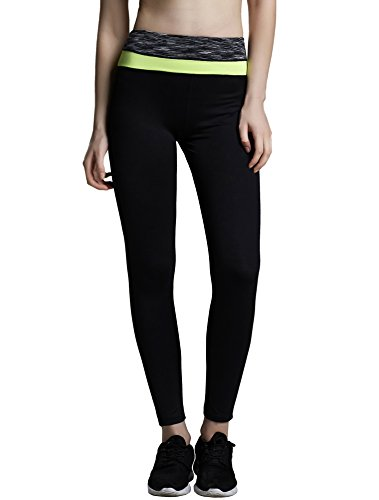 ChinFun Women's Yoga Ankle Leggings Workout Running Pants Fluorescent Green Size M