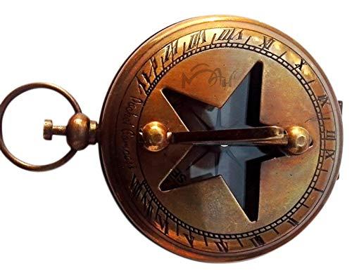 MAH Handmade 2'' Maritime Pocket Push Button Sundial Compass. C-3008