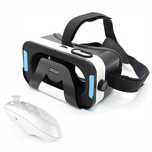 MSRM 3D VR Glasses,Magnet control button 3D virtual reality headset for IOS, Android ,Microsoft& PC phones Series within 4.0-6.0inches.With Bluetooth gamepad / remote / self timer.(MSRM-ZB)