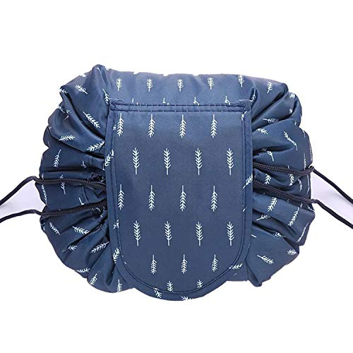 Cosmetic Bag Drawstring Makeup Case Travel Make Up Organizer Storage Pouch Toiletry Wash Kit Blue Feather