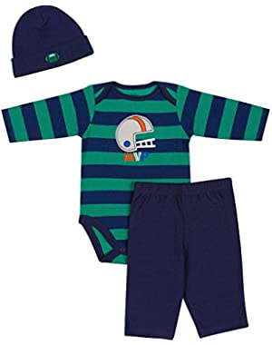 Baby-Boys Newborn Three-Piece Long-Sleeve Bodysuit, Pant, and Cap Set