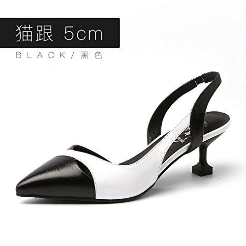 Jqdyl Tacones Sandalias Femeninas Verano Nuevo Zapatos de Tacón Alto Tacones Altos Baotou Sandalias de Costura Hebilla Black 5cm