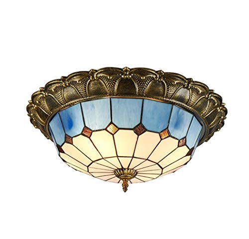 (Mediterranean Style LED Ceiling Light in Tiffany Style Stained Glass Flush Mount Art Ceiling Lamps for Bedroom Porch Lighting,LED Chip,3colorlight,40cm)
