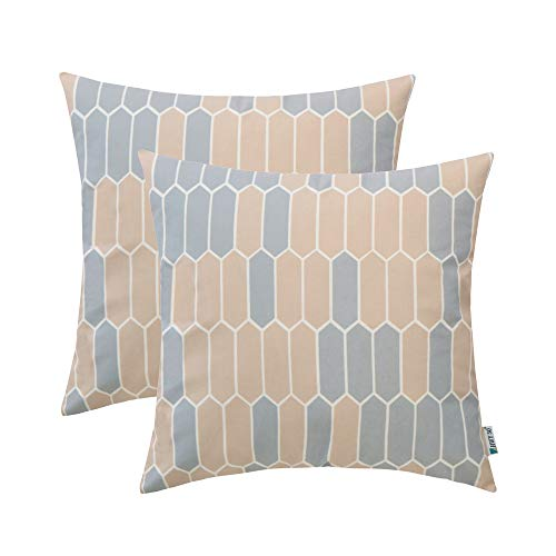 Contemporary Cushion Cover - HWY 50 Throw Pillows Covers Sets Cushion Cases for Couch Sofa Bedroom Soft Decorative Simple Geometric Camel Print 20 x 20 inch Pack of 2