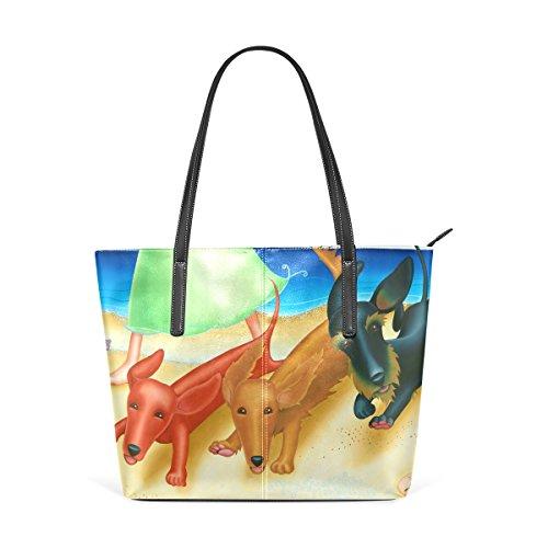 COOSUN Duchshung Dogs PU Leder Schultertasche Handtasche und Handtaschen Tasche für Frauen