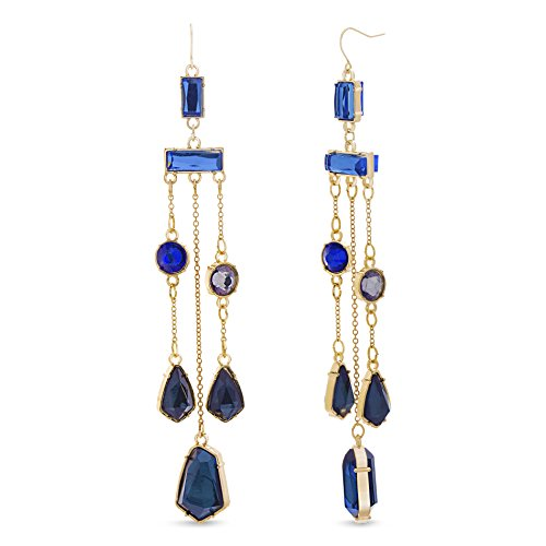 Catherine Malandrino Multi-Colored Yellow Gold-Tone Chandelier Earrings for Women (Blue and Grey)