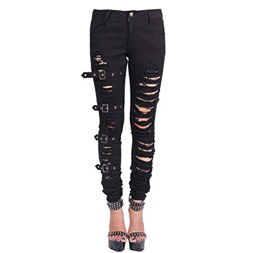 Women's high Waist Slim fit Elastic Irregular Two-Color Pearl Studded Denim Leggings Washed Holes Large Size
