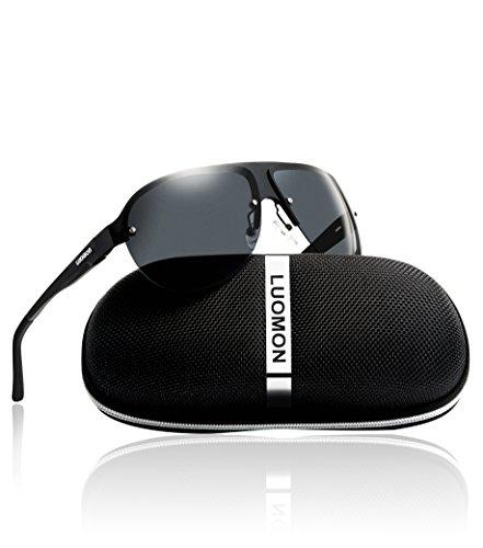 LUOMON LM061 Men's Polarized Shield Sunglasses Al-Mg Alloy Black Frame/Grey Semi Rimless Lens Unbreakable Frame uv protection ()