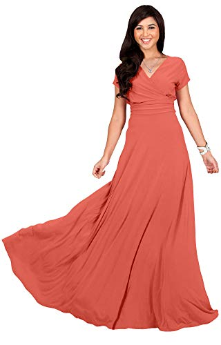 (KOH KOH Womens Long Cap Short Sleeve V-Neck Flowy Cocktail Slimming Summer Sexy Casual Formal Sun Sundress Work Cute Gown Gowns Maxi Dress Dresses, Coral/Pink Peach M 8-10)