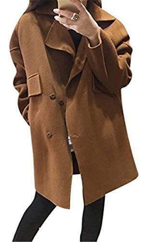 Parka Gracieux Femmes Tranchées Vintage Monochrome Manteau Bouton De Mode Manteau Fente Poches Printemps Manches Automne Manteau À Avec Classique Élégant Longues Café 7Pqrwd7