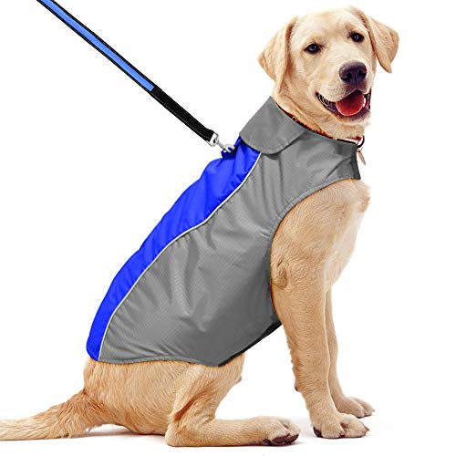 BSEEN Waterproof Dog Coat, Soft Fleece Lined Reflective Dog Jacket for Winter, Outdoor Sports Pet Vest Snowsuit Apparel, S-XXXL (XXL, Blue)