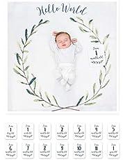lulujo Baby Baby's First Year Milestone Blanket & Cards Set, Hello World