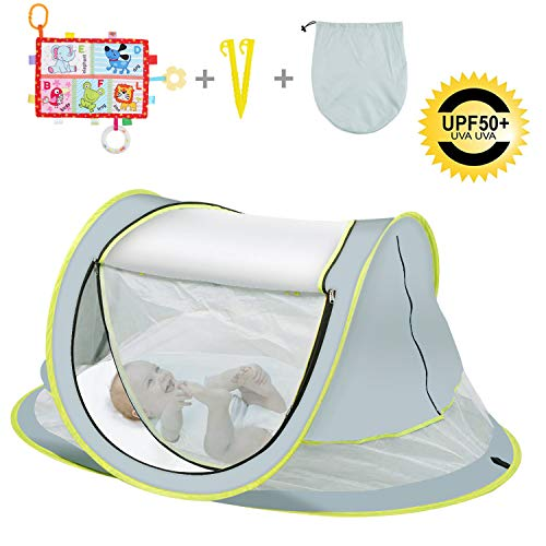 OBloved Baby Beach Tent, Large Portable Baby Travel Bed, UPF 50+ UV Protection Sun Shelters for Infant, Pop UpFolding Baby Travel Tent with Mosquito Net, Ultralight Sunshade with 2 Pegs