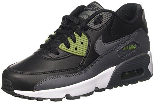Nike Air Max Grands Enfants 90 Chaussures De Course En Cuir, Léger, Confortable Et Durable Pleine Fleur Et Cuir Synthétique Noir / Gris Foncé / Vert Paume