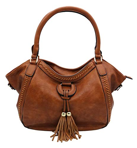 Lucky Charm Vintage Handbags for Men and Women PU Leather Hobo Style Tote Shoulder Bag (Brown)