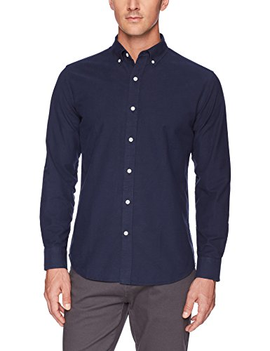 Amazon Essentials Men's Regular-Fit Long-Sleeve Solid Oxford Shirt, navy, Small